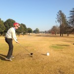 Chad Campbell drives on the first at Benoni Lake
