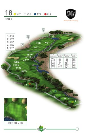 Jackal Creek Golf Estate Hole 18 graphic supplied by Pocket Caddi