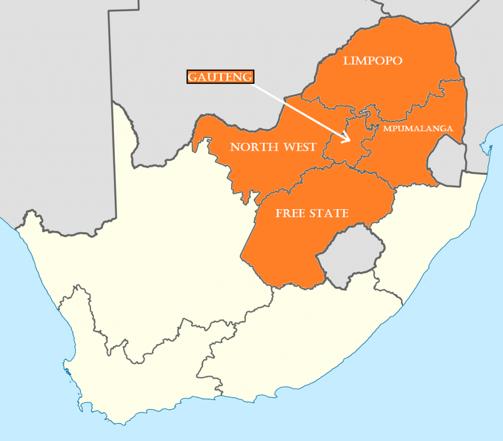 Inland courses and provinces in South Africa